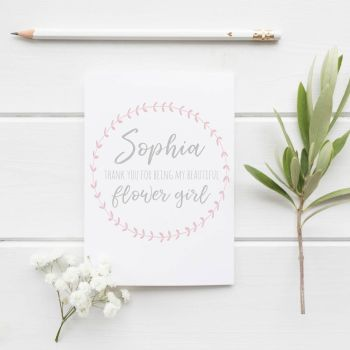 Pink Laurel Bridesmaid/Flower Girl Thank You Card