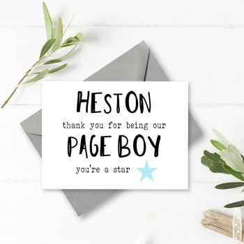 You're a Star Page Boy Thank You Card