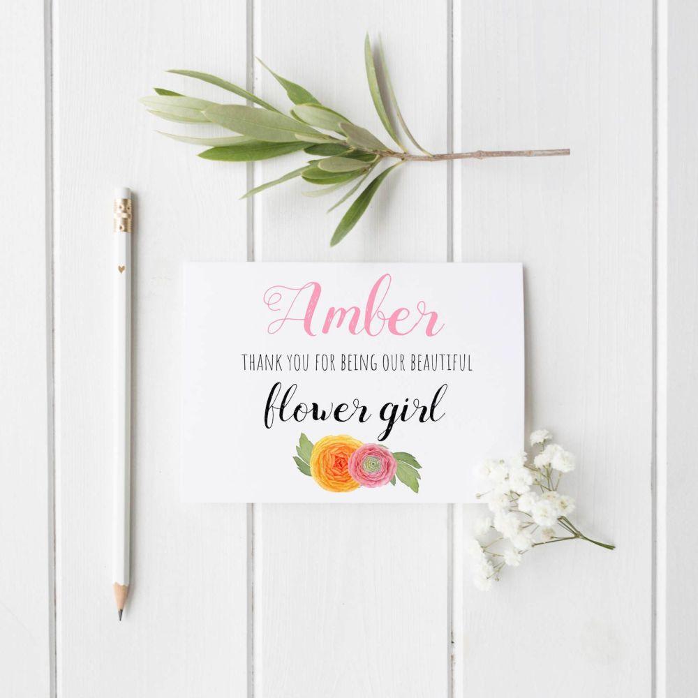 Watercolour Flower Girl Thank You Card