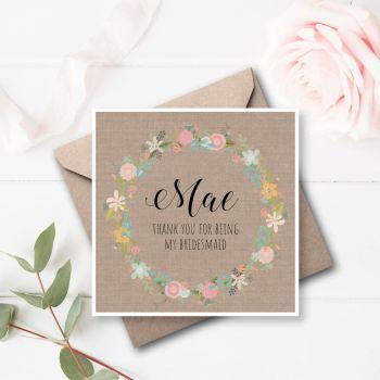 Vintage Fiori Bridesmaid/Maid of Honour Thank You Card