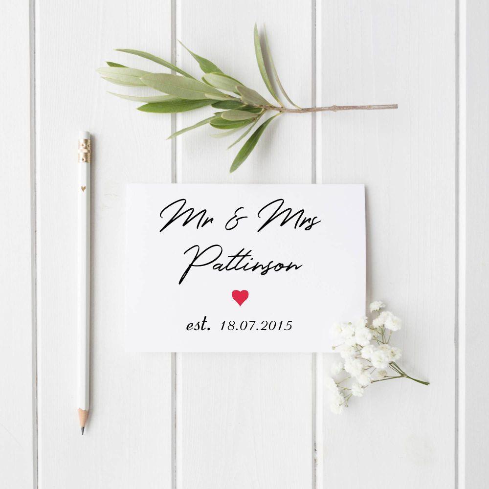 Est. On Wedding Day Card