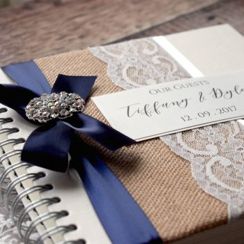 Vintage Hessian & Lace Personalised Wedding Guest Book