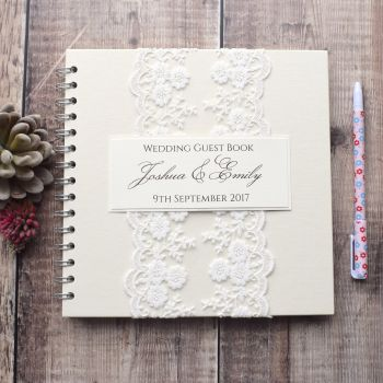 Antique Lace Personalised Wedding Guest Book