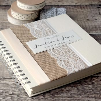 Hessian & Lace Personalised Wedding Guest Book