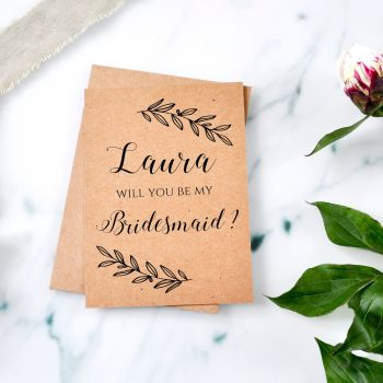Laurel Leaf Will You be my Bridesmaid/Maid of Honour Card