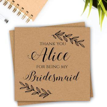 Rustic Laurel Bridesmaid/Maid of Honour Thank You Card