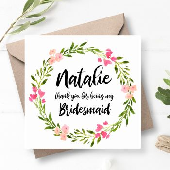 Rosaline Bridesmaid/Maid of Honour Thank You Card