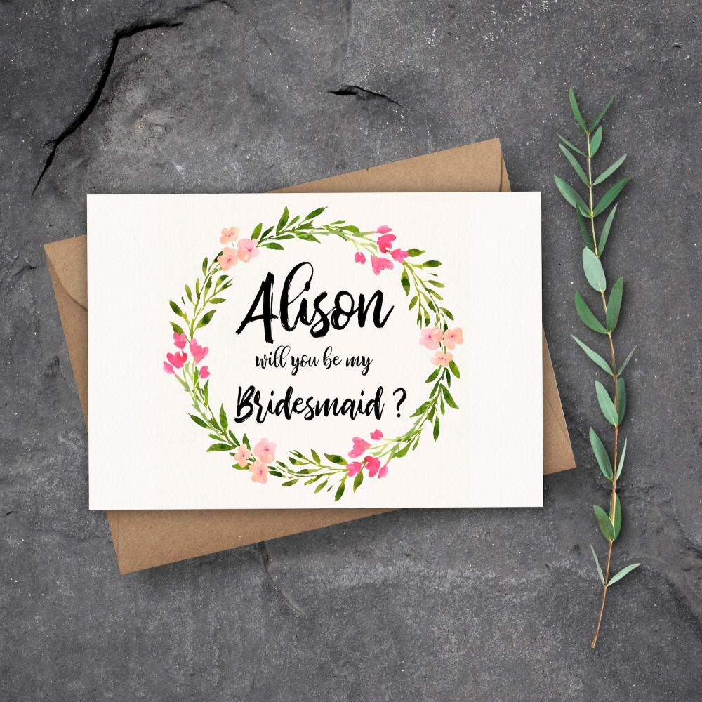 Rosaline Floral 'Will You Be my Bridesmaid?' Card