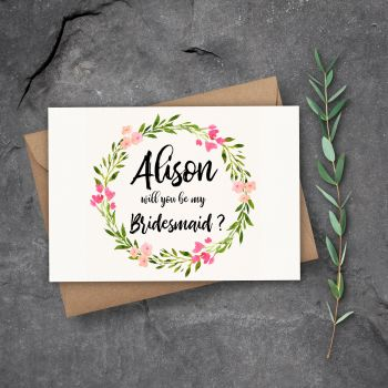 Rosaline Floral Will You Be my Bridesmaid/Maid of Honour Card