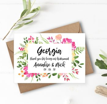 Floral Frame Bridesmaid/Maid of Honour Thank You Card
