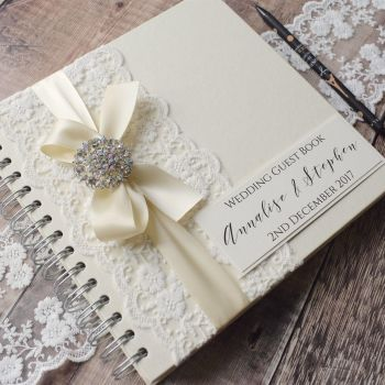 Vintage Lace Personalised Wedding Guest Book