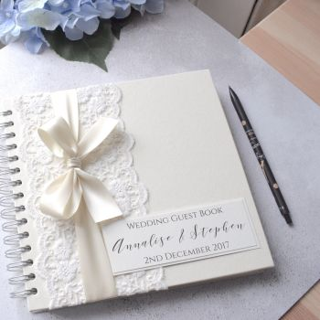 Antique Lace Bow Personalised Wedding Guest Book
