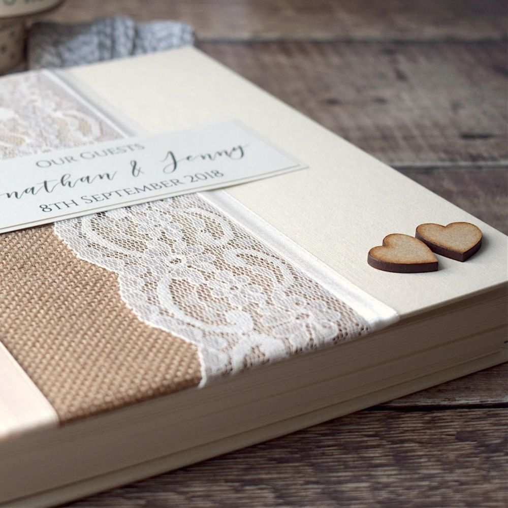 Hessian & Lace Personalised Wedding Guest Book with Hearts