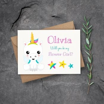 Magical Unicorn Will You Be my Flower Girl Card