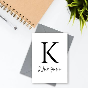 Initialled 'I Love You' Card