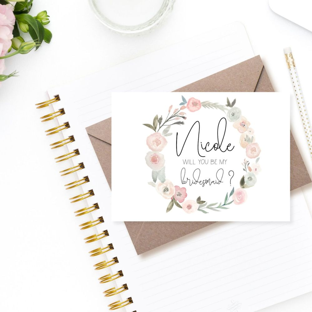 Pastel Rose Will You Be my Bridesmaid/Maid of Honour Card