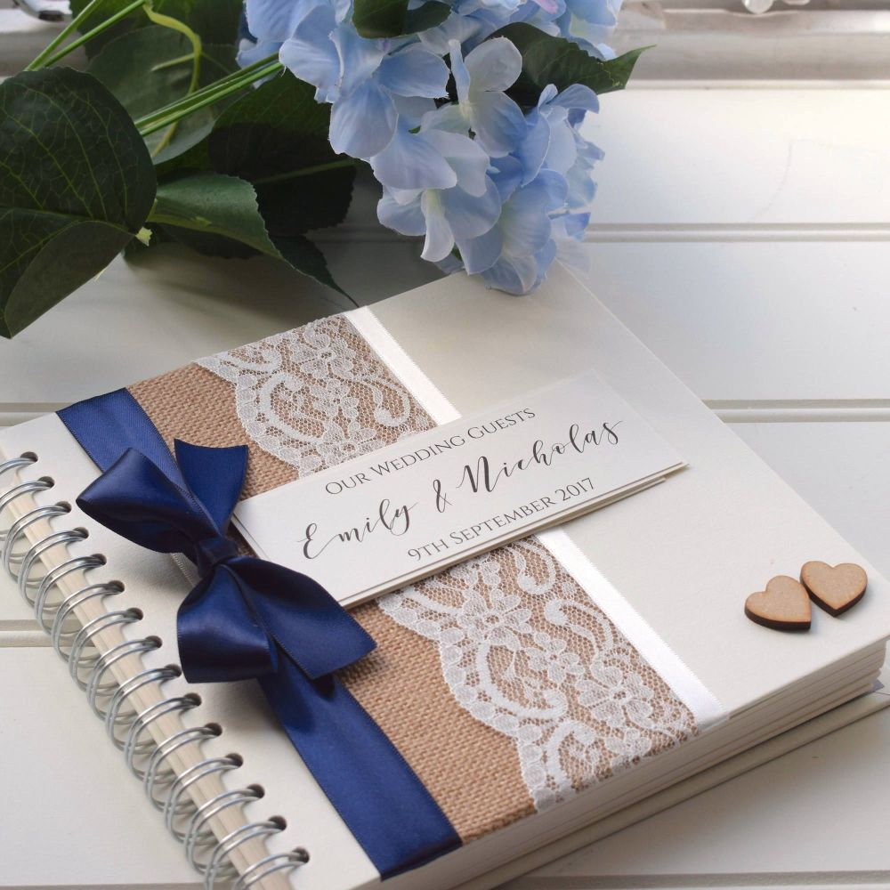 Hessian Bow Wedding Guest Book