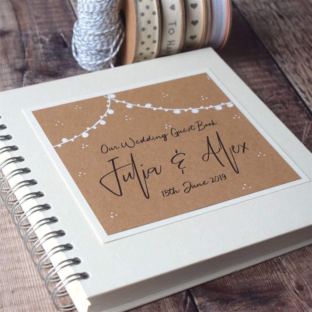 Hand Illustrated Festoon Garland Wedding Guest Book