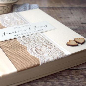 Hessian Hearts Wedding Guest Book