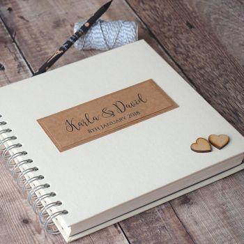 Wooden Hearts Wedding Guest Book