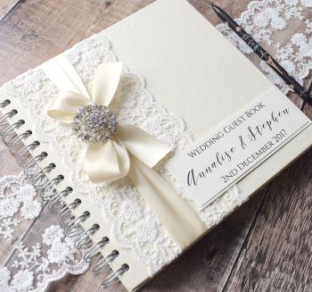 Vintage Lace Wedding Guest Book