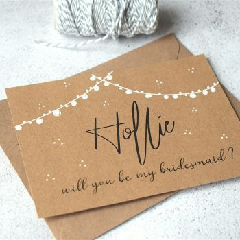 Hand Illustrated Festoon Will you be my Bridesmaid Card