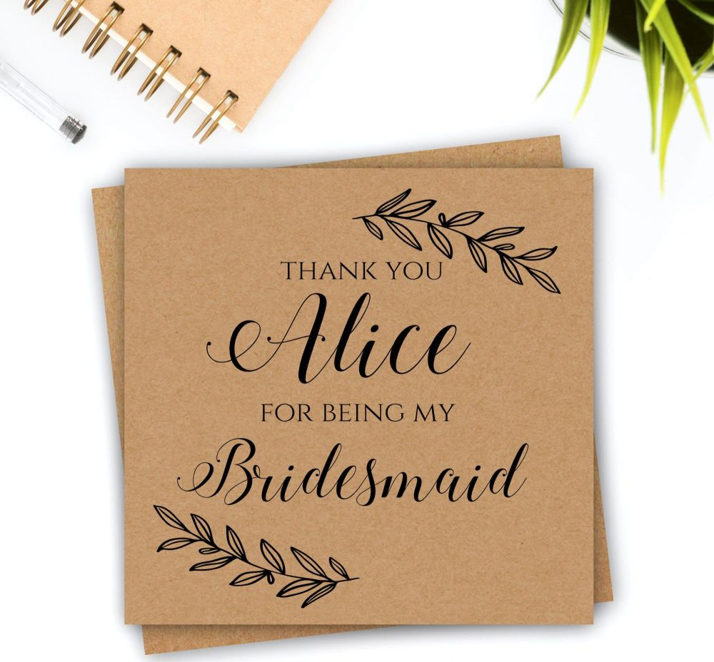 Laurel Thank You Card for Bridesmaids & Maid of Honour