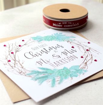 Evergreen Our First Christmas as Mr & Mrs Card