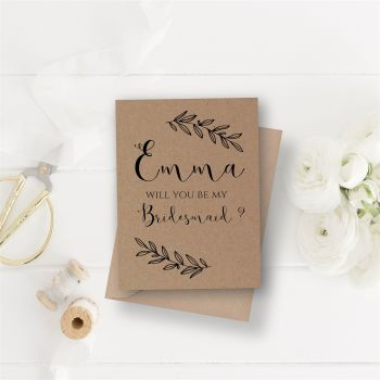 Laurel Leaf Will you be my Bridesmaid Card