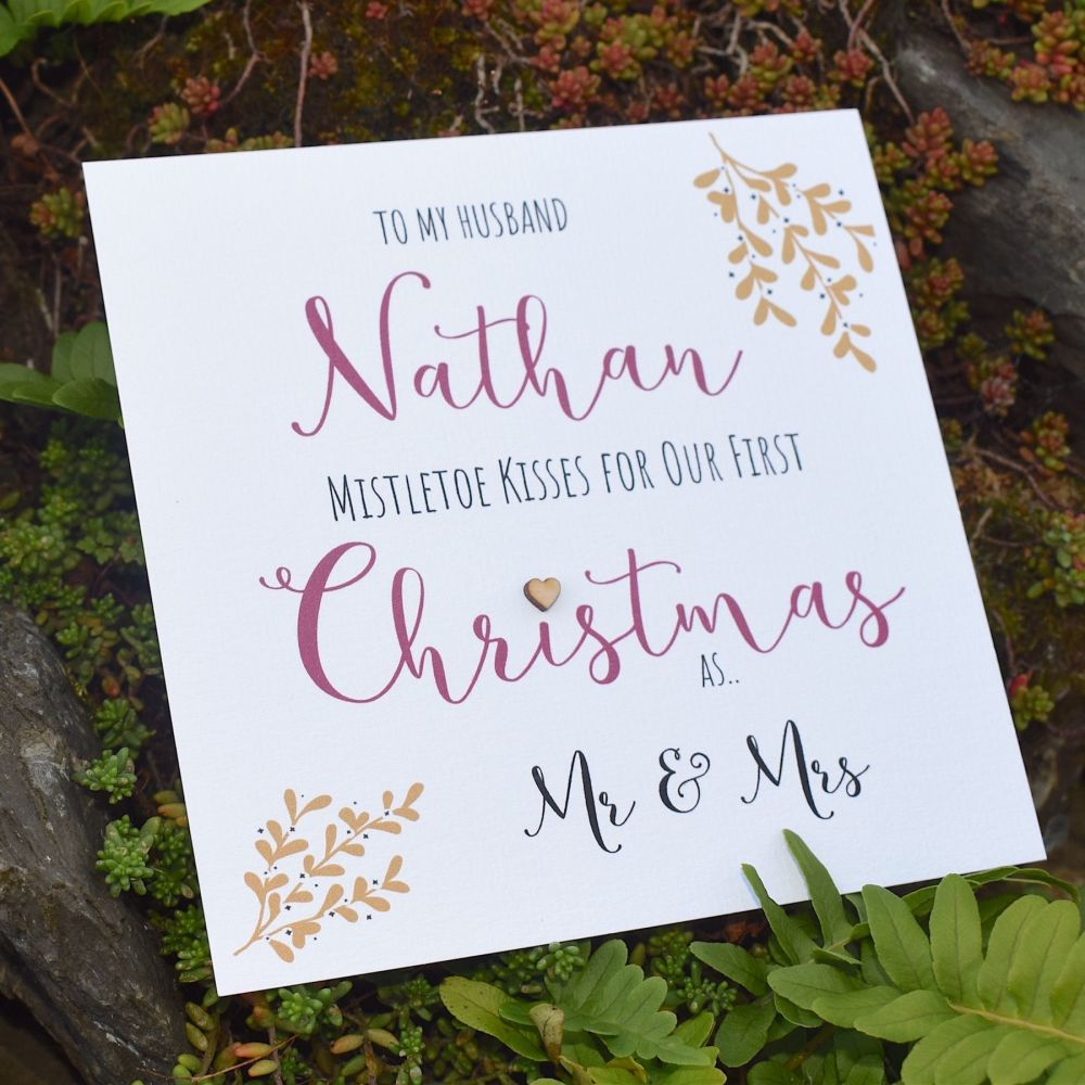 Mistletoe Kisses Our First Christmas as Mr & Mrs Card
