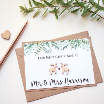 Our First Christmas as Newlyweds Card - Wooden Reindeer