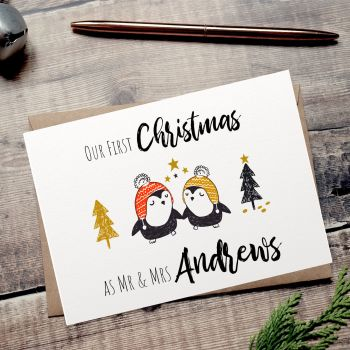 Little Penguins Our First Christmas as Mr & Mrs Card