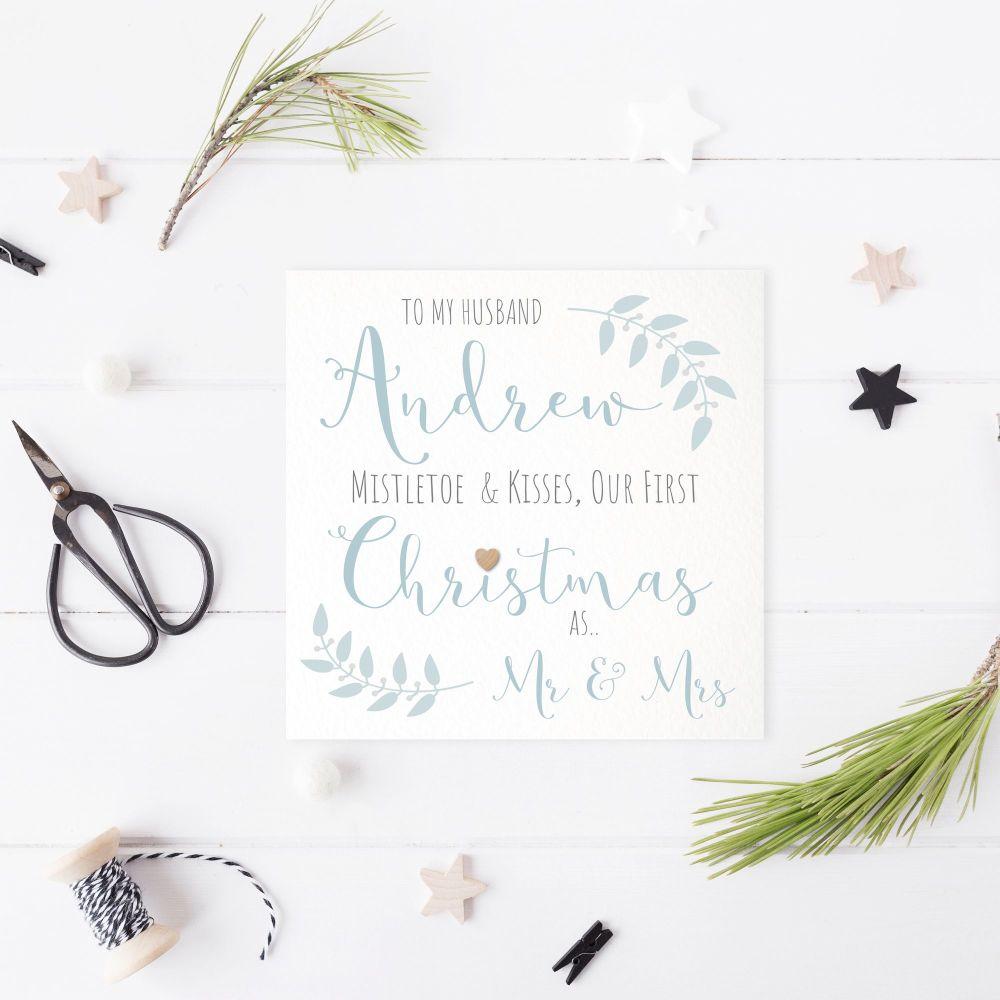 Mistletoe Kisses Our First Christmas as Mr & Mrs Card - Blue