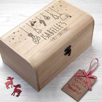 Baby's First Christmas Eve Wooden Chest Box