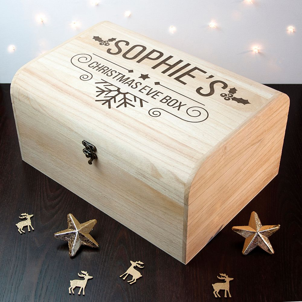 Retro Font Christmas Eve Wooden Chest Box