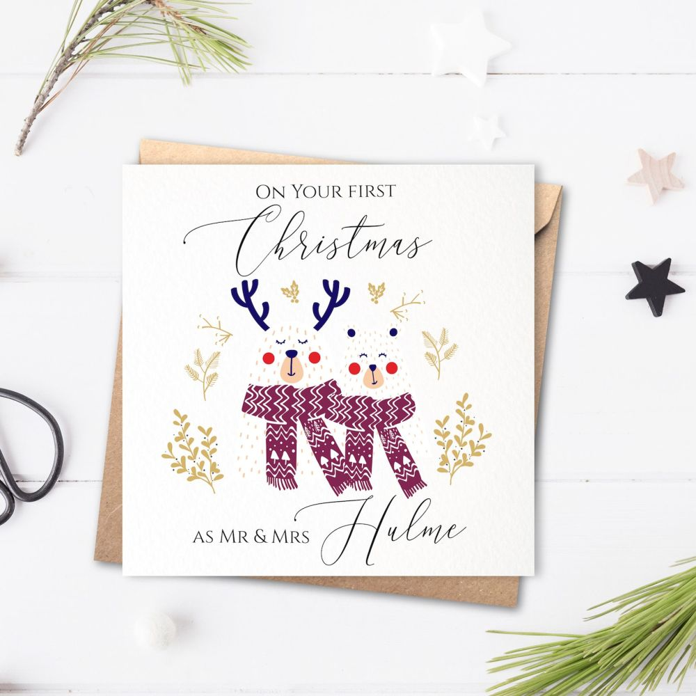 Snow Bears Your First Christmas as Mr & Mrs Card