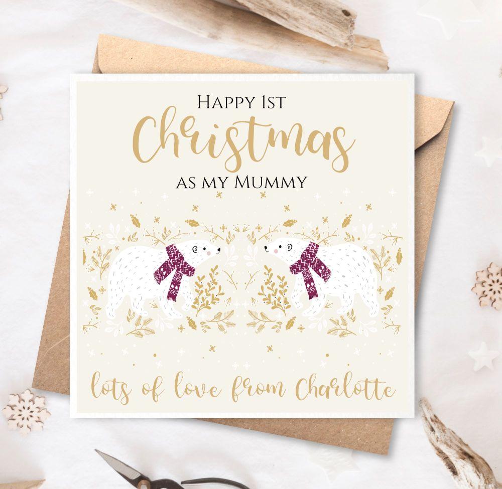 First Christmas as My Mummy Card - Polar Bears