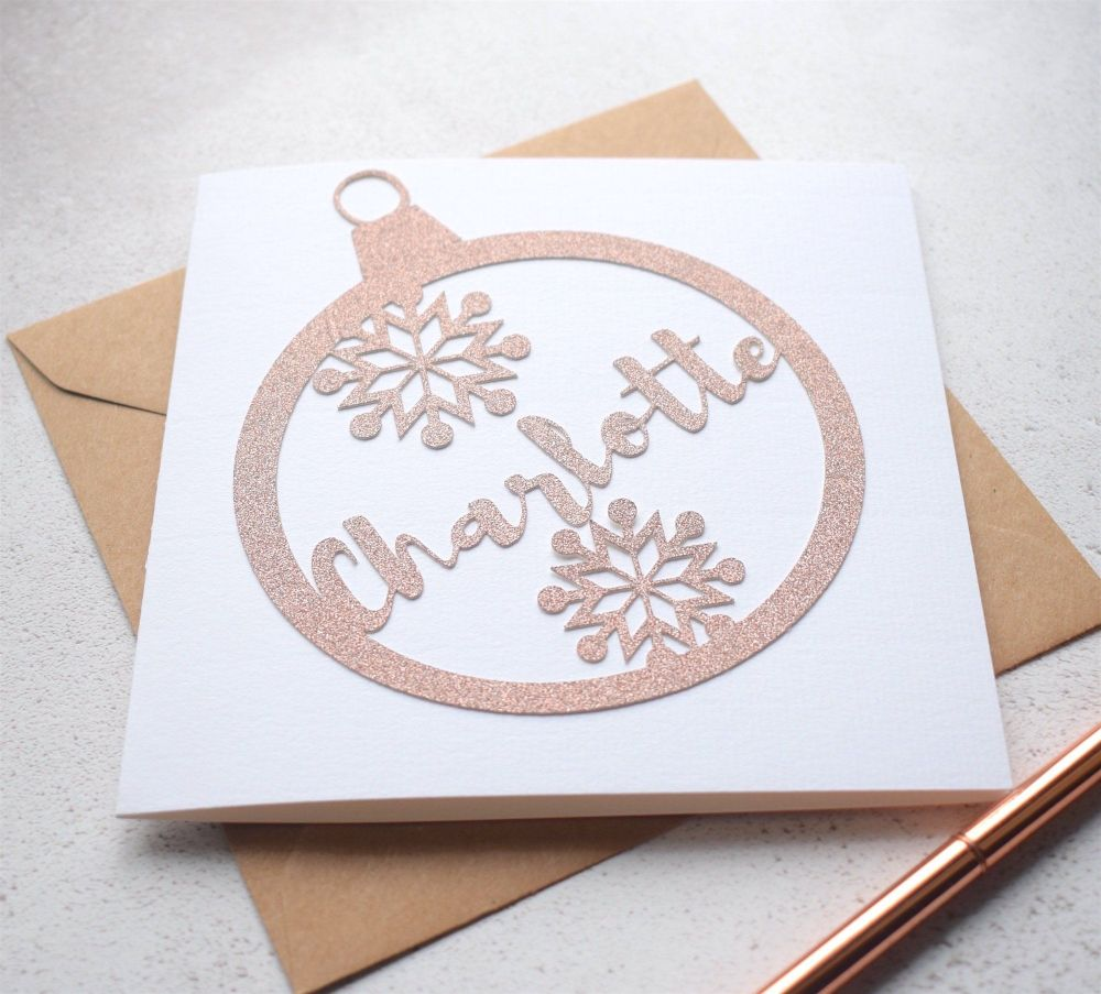 Rose Gold Glitter Bauble Christmas Card