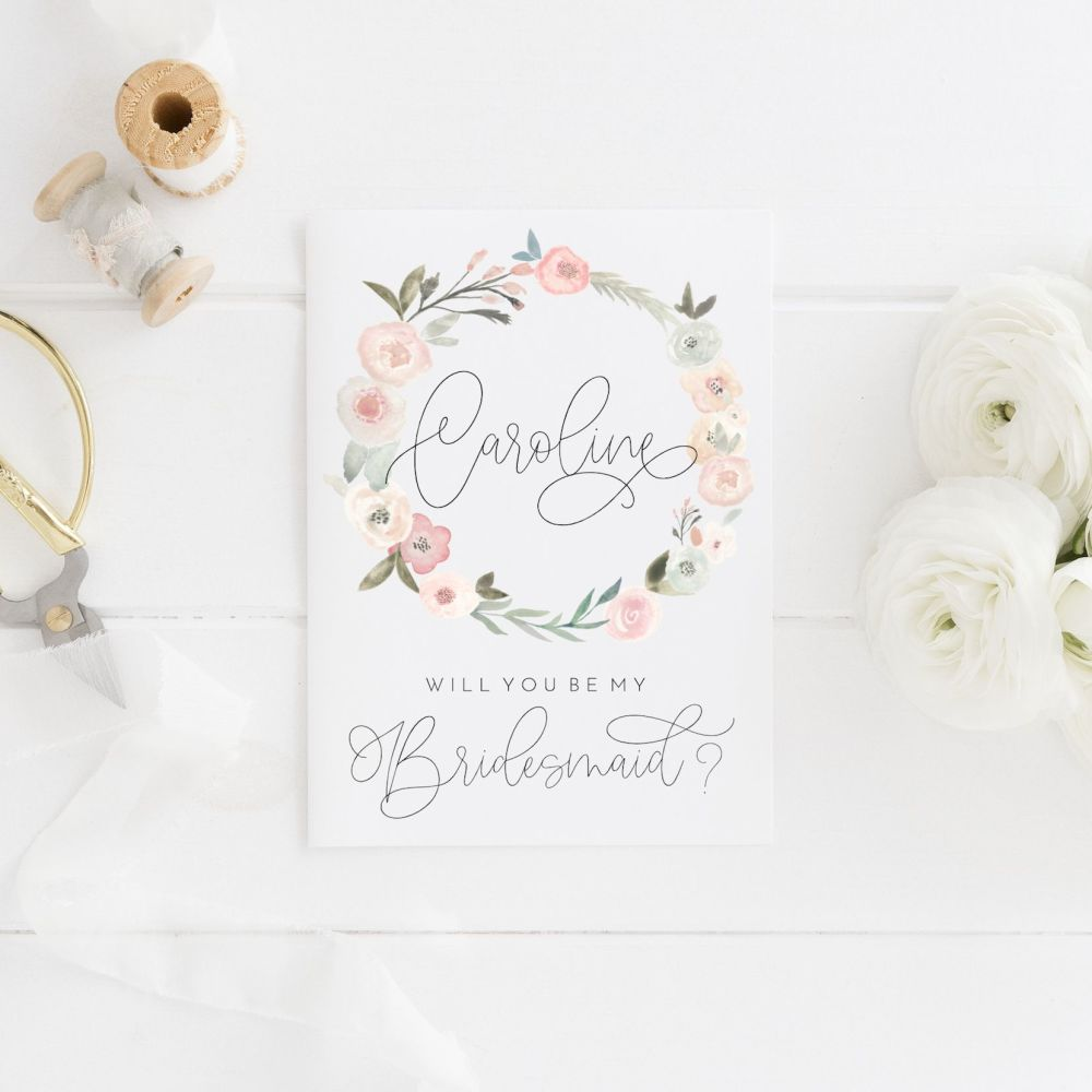 Pastel Rose Will you be my Bridesmaid Card
