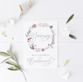 Winter Wreath Will you be my Bridesmaid Card