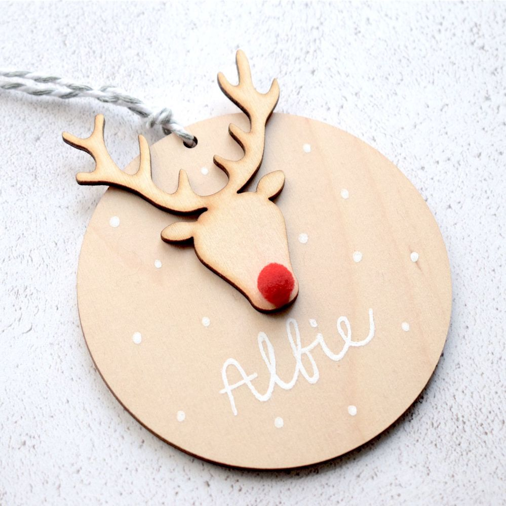 Baby's 1st Christmas Wooden Rudolph Decoration and Card