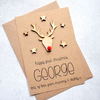 Baby's 1st Christmas Wooden Rudolph Card