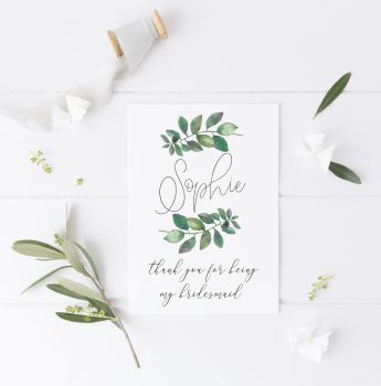 Botanical Laurel Thank You Card for Bridesmaids & Maid of Honour