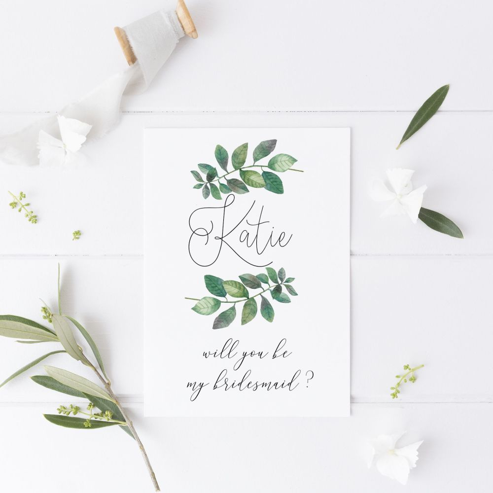 Botanical Laurel Will you be my Bridesmaid Card