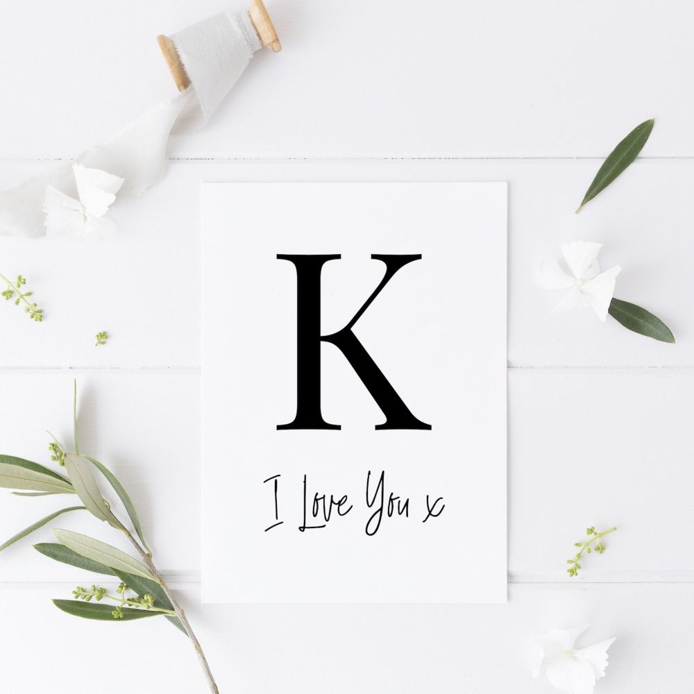 I Love You Card with Initial K