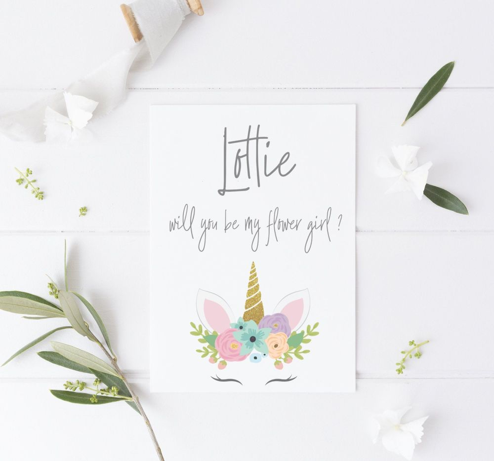 Unicorn Flower Girl Will you be my Flower Girl Card