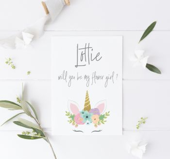 Unicorn Will you be my Flower Girl Card