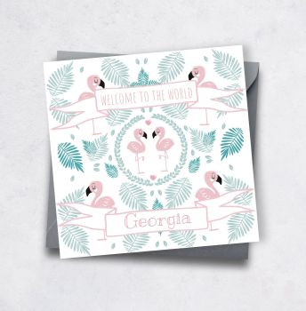 Pink Flamingo Personalised New Baby Card