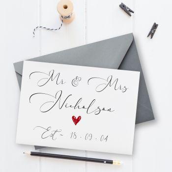 Est. On Wedding or Anniversary Card