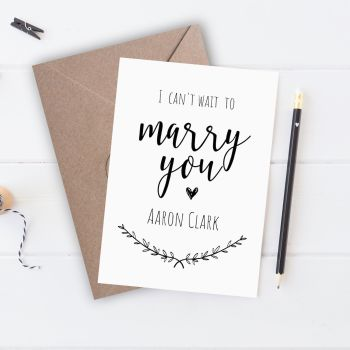 Rustic I Can't Wait to Marry You Card